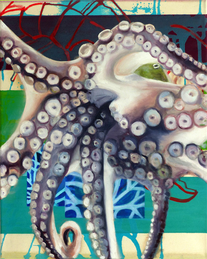 Meeresbewohner III, 2017, 50x50cm, mixed Media auf Leinwand