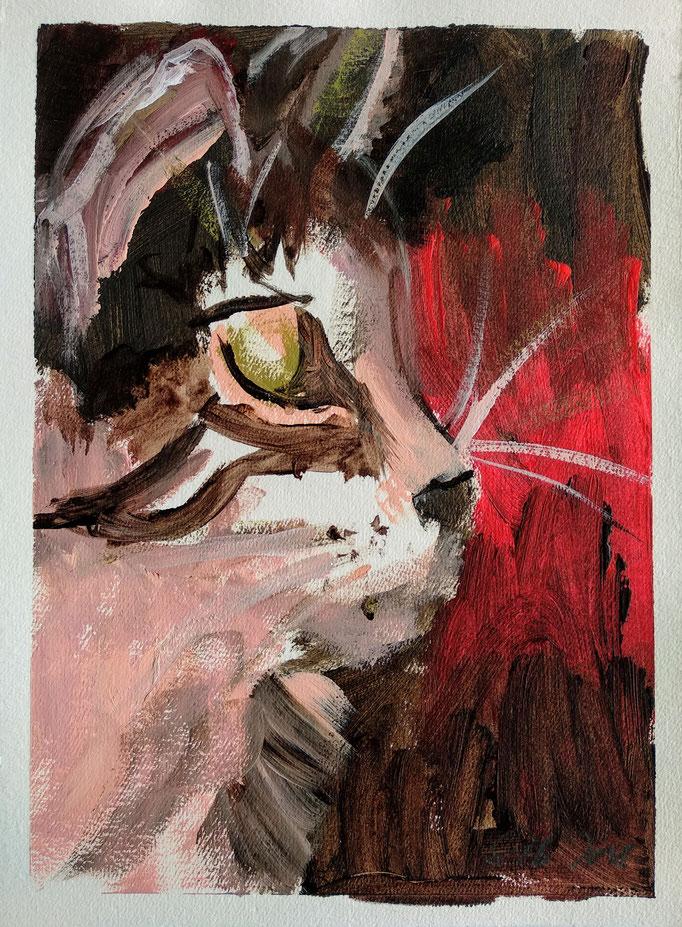 Cats III, 2018, 30x20cm, Acryl auf Bütte