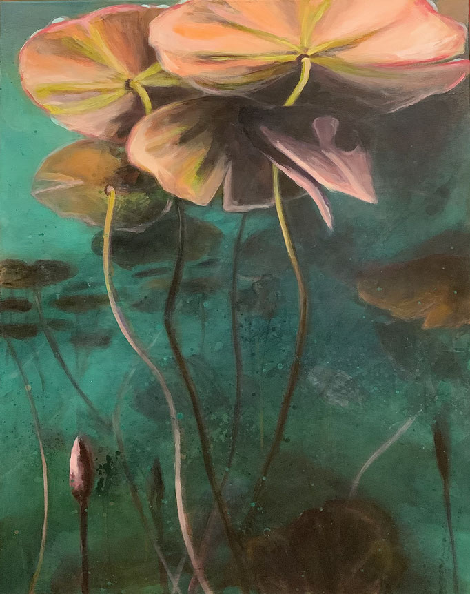 Water Lillies,2020, 100 × 80 cm, Acryl auf Leinwand