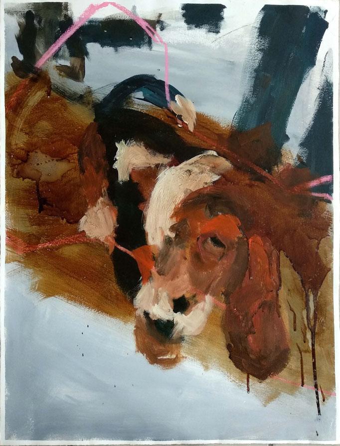 Beagle 2015,  56x39cm, Mischtechnik auf Büttenpapier