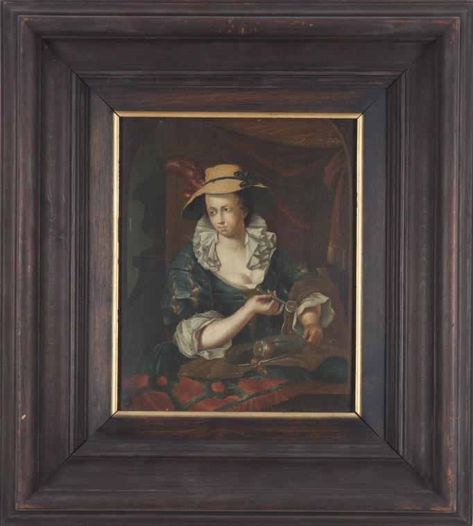 """Franz Xaver Hendrik Verbeeck (Antwerpen 1686-1735), Pendants: """"Dame eine Zitrone schälend"""", Öl/Holz, je 26 x 21,5 cm"""