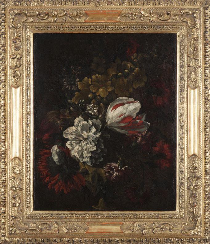 """Italienische Schule um 1700, """"Blumenstillleben"""", Öl/Leinwand, 49 x 38 cm"""