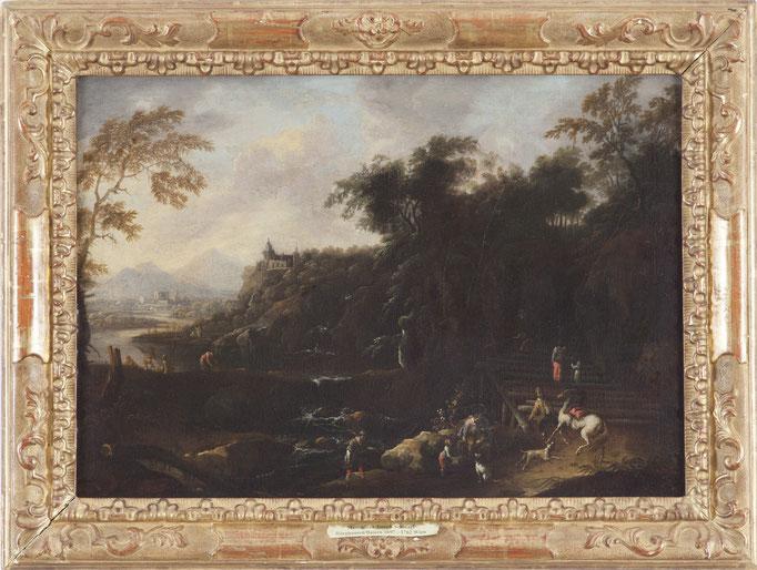"""Maximilian Josef  Schinagl (Burghausen 1697-1762 Wien), """"Flusslandschaft mit Staffage"""", Öl/Leinwand, 47 x 63 cm"""