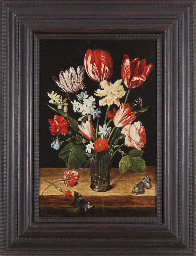 """Jacob van HULSDONCK (Antwerpen 1582-1647), """"Blumen in einer Glasvase"""", Öl/Holz, 41 x 33 cm, Kopie des 20. Jhdts."""