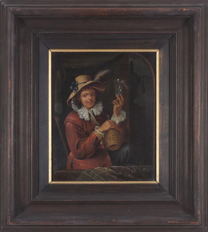 "Franz Xaver Hendrik Verbeeck (Antwerpen 1686-1735), Pendants: ""Herr mit Weinglas und Korbflasche"", Öl/Holz, je 26 x 21,5 cm"