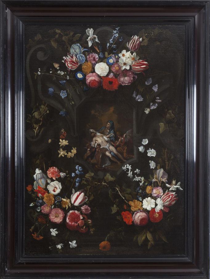 """Jan Philips van Thielen (Mecheln 1618-1667 Booisschot), """"Blumengirlande um eine Kartusche mit Pietá und Engeln),  Öl/Leinwand, 113 x 82 cm"""