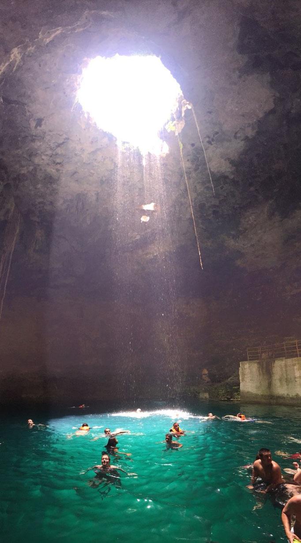 ちょうど久しぶりのお天気 セノーテに降り注ぐ光もとても綺麗でした