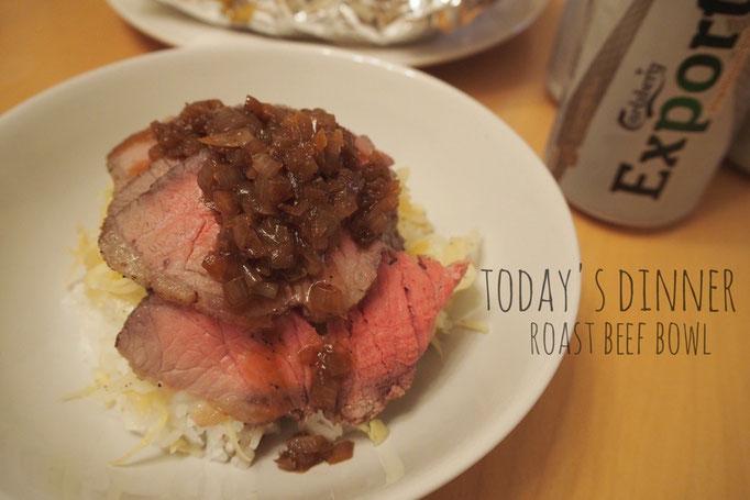 イギリスでの最後の晩餐は旦那さん作のローストビーフ...おいしかった♡ お料理上手でうらやましくなる