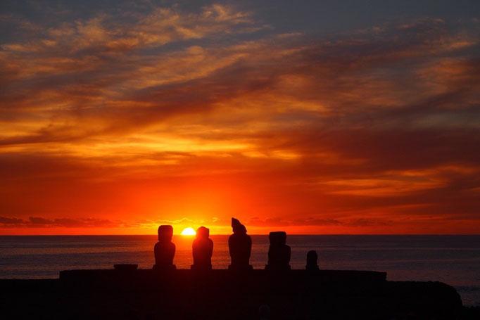 夕陽を背に受けて 真っ赤に染まります