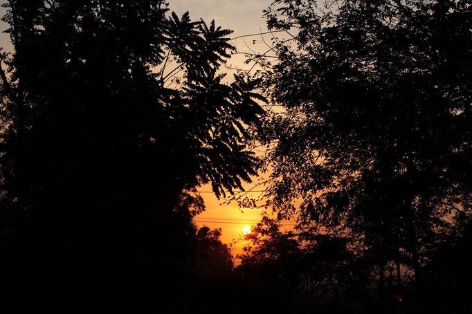 ヤンゴンから夜行バスに乗り 早朝にバガンへ到着 バガンの朝日は目が覚めるようなオレンジ色