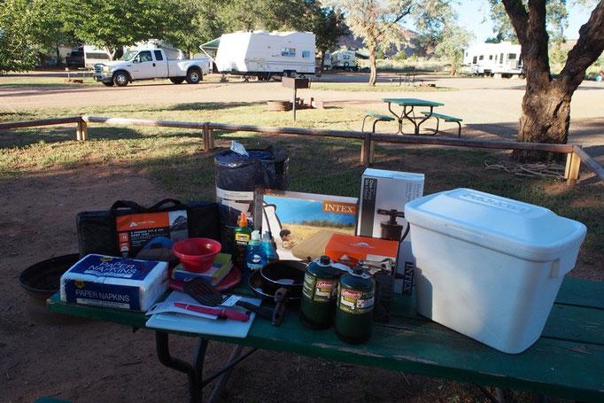 出発してすぐにキャンプグッズをたくさん購入 車があるとたくさん荷物も楽ちん♡