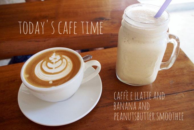この日にカフェでオーダーしたのは バナナとピーナッツバターのスムージー