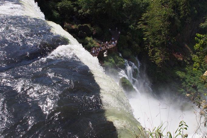 滝を上から見たところ 最高落差80mのイグアスの滝では下方の遊歩道と見学をしている人たちがあんなに小さく