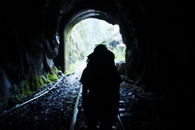終盤には真っ暗なトンネルが2つ 2つ目のトンネルを抜けた先にはアグアスカリエンテスが小さく見えました