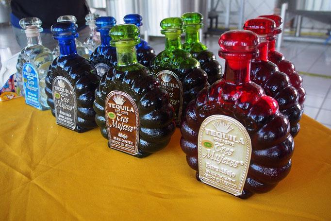テキーラの工場見学では テキーラのできる過程を見学後 小さなカップでテキーラを4種類試飲