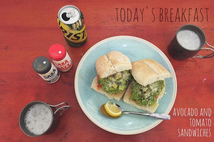 イースター島で作ったごはん アボカドとトマトのサンドイッチ