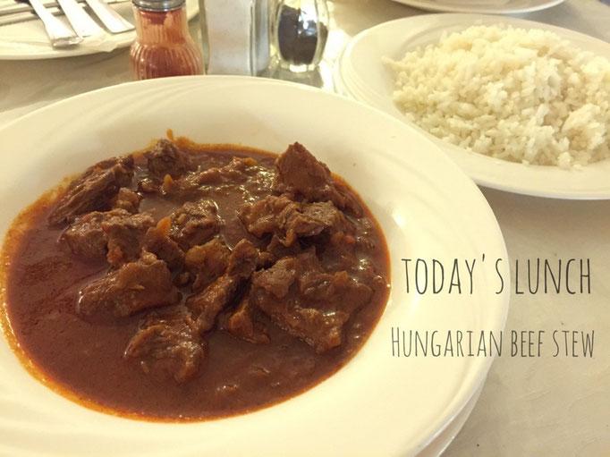 滞在中によく食べたグヤーシュ グヤーシュはパプリカをたっぷりと入れたハンガリーの煮込み料理