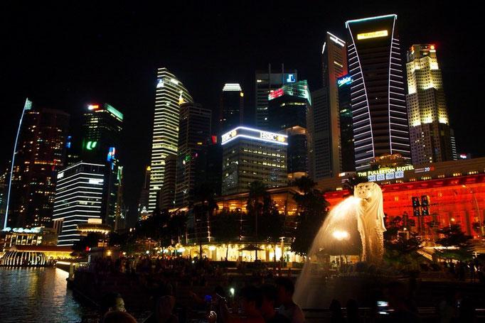 シンガポール最後はマーライオンの写真。マーライオンは想像以上にしゅっとした顔で 私は好きでした。