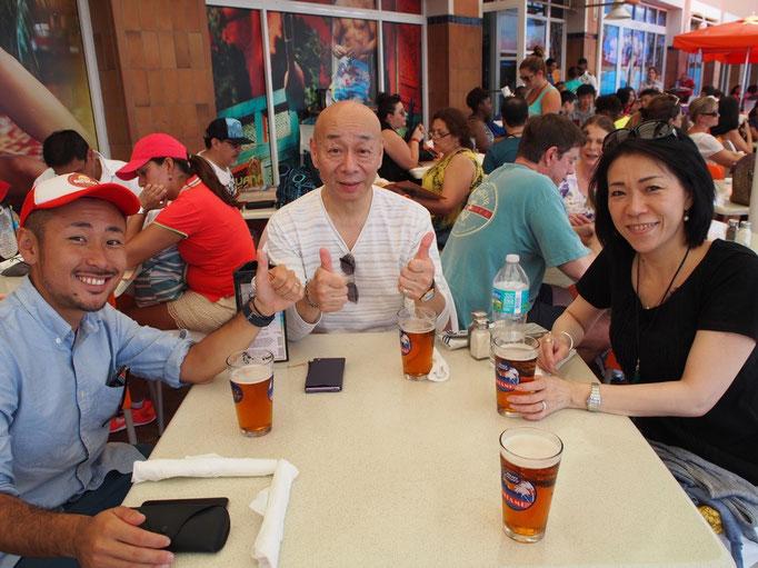 クルーズに向けて一通りのお買い物が終了 ひと休みにはやっぱりビールで乾杯♡