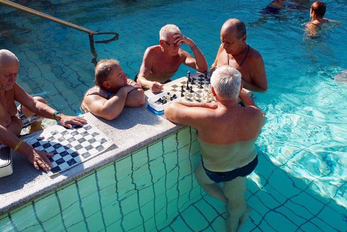 """セーチェニ温泉名物の""""風呂チェス"""" チェスを指しているおじさま達は渋くて素敵でした"""