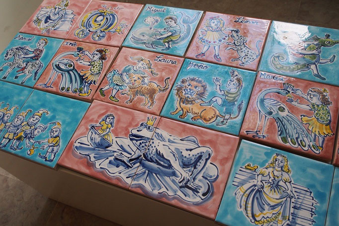 ペーナ宮殿の中のお土産屋さんにて 名前入りのかわいいアズレージョが売られていました