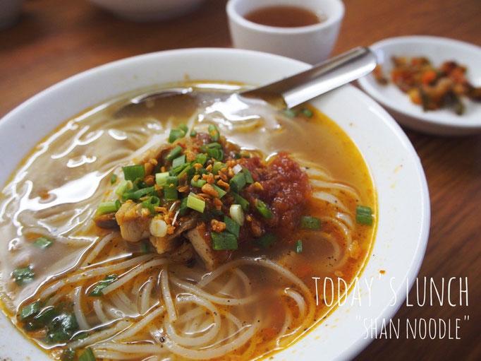 この日のお昼ごはんは シャンヌードル やさしい味のスープに 担々麺の時のような肉味噌で旨みとコクをプラス