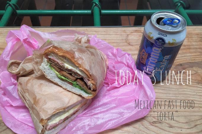 """この日のお昼ごはんはメキシコ風サンドイッチ""""トルタ"""" 中には薄いカツ入り♡"""