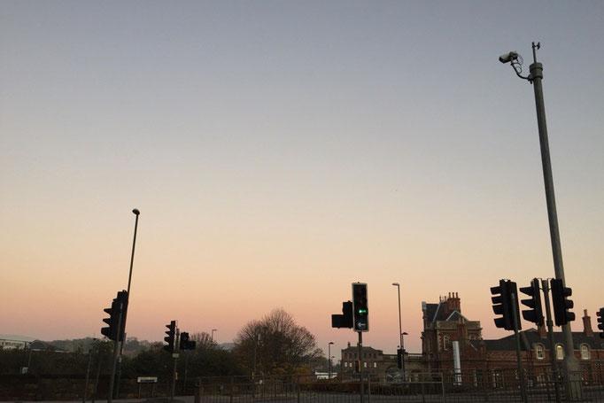 この日の夕焼け空はふんわり淡い色 翌日はピーターバラへ戻る日 ちょっと嬉しい♡