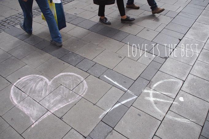 ミュンヘンをお散歩していて見つけたらくがき 愛が1番♡