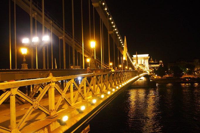 くさり橋もライトアップされて美しい♡