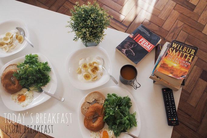 この日の朝ごはん 日本では朝ごはんを食べなかった旦那さんも この旅で毎朝朝ごはんを食べるようになりました