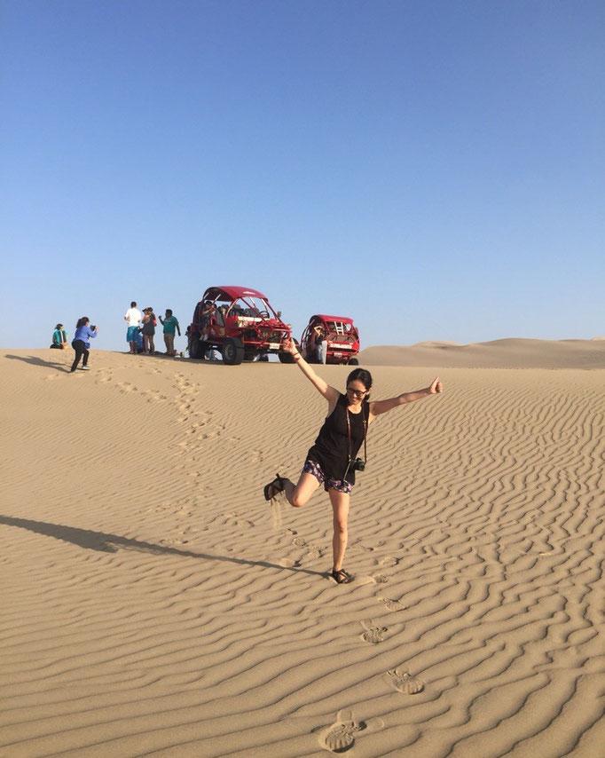 お天気も良くて 目の前はずーっと砂漠 思わずはしゃぐ私
