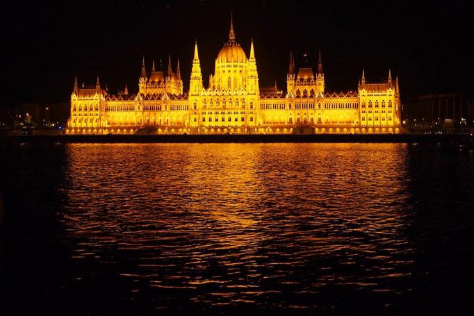 国会議事堂のライトアップでは 夜の闇の中に威風堂々とした姿が♡