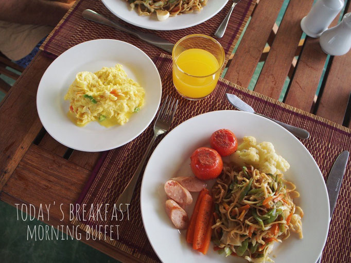 この日の朝ごはんは 滞在先のビュッフェ 朝にしっかり食べると 1日元気に楽しめます