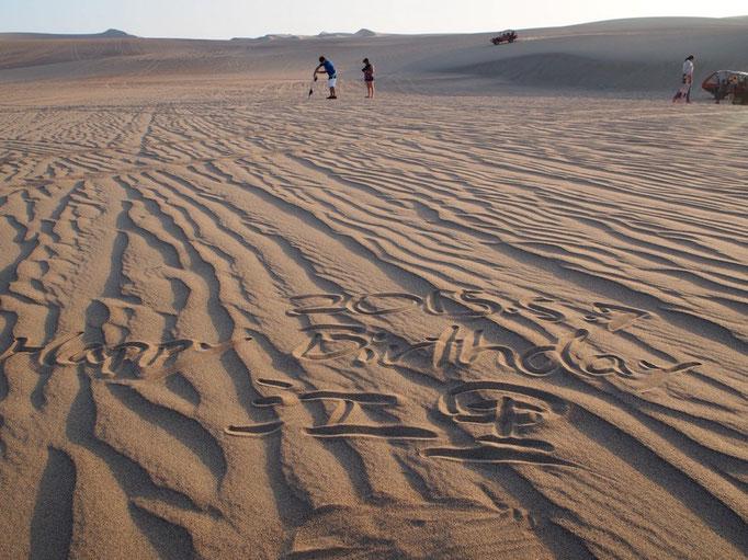 砂の中にハッピーバースデーの文字が♡ ほんとに...感謝しきりの36回目の誕生日でした