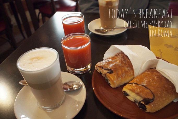 ローマではサービスでカフェでの朝食が付いているところへ滞在 朝食が毎日の楽しみに♡