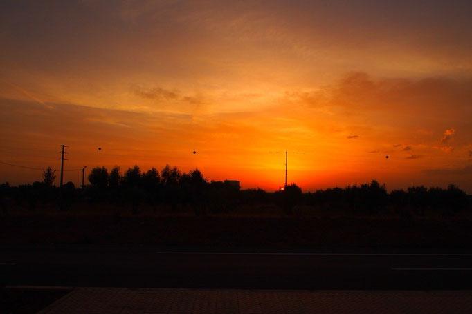 モロッコ最後の日は早朝に空港へ 朝焼けが綺麗...