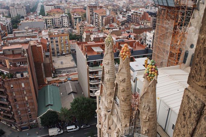 塔を登るとバルセロナの街が一望できて 高いところにあるモニュメントも見えました...つぶつぶ...
