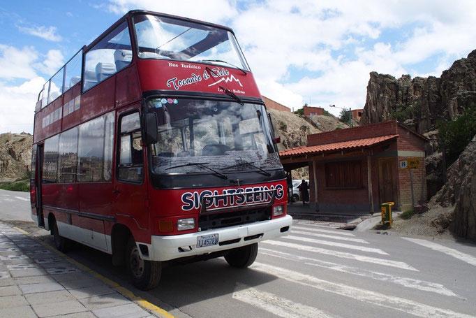 ラパスでは市内観光バスに乗ってみることに