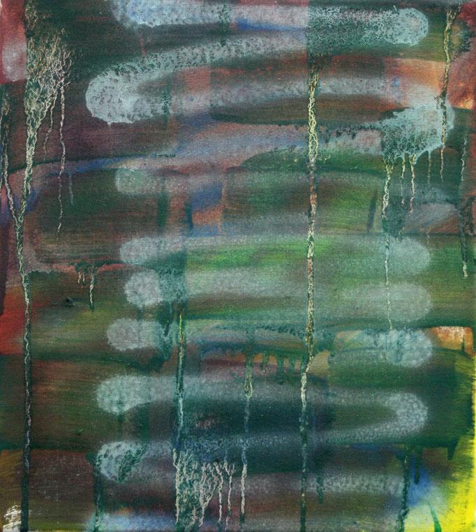o.T., 40cm x 35cm. Öl und Sprühlack auf Leinwand