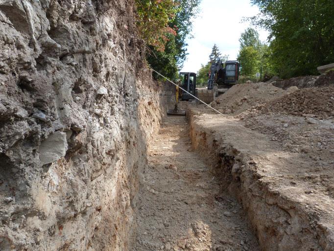 préparation des fondations du mur