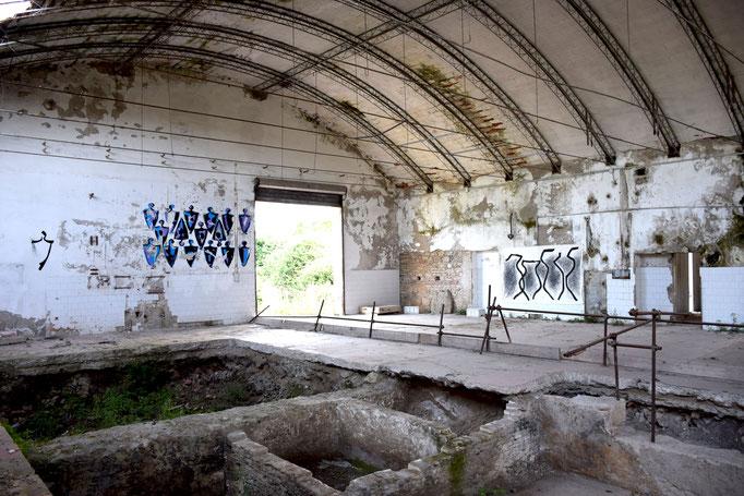 Panoramica con le opere di ENZO CURSARO all'interrno della EX Fabbrica CIRIO di Paestum - 2016