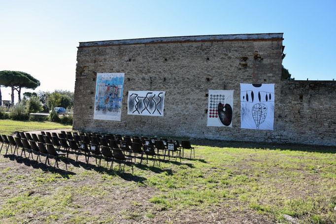 Preparazione della inauguirazione  dell'evento SANCTA VENERA all'esterno ex fabbrica CIRIO di Paestum - 2016