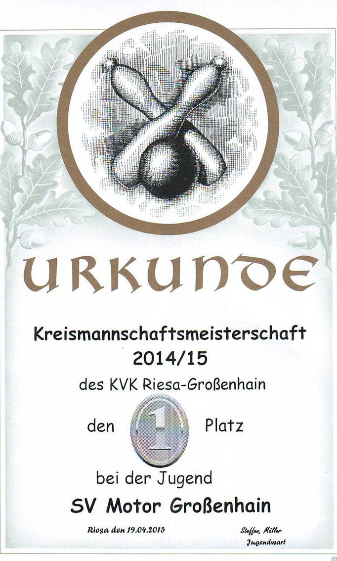 Urkunde Kreismannschaftsmeisterschaft des KVK Risa-Großenhain