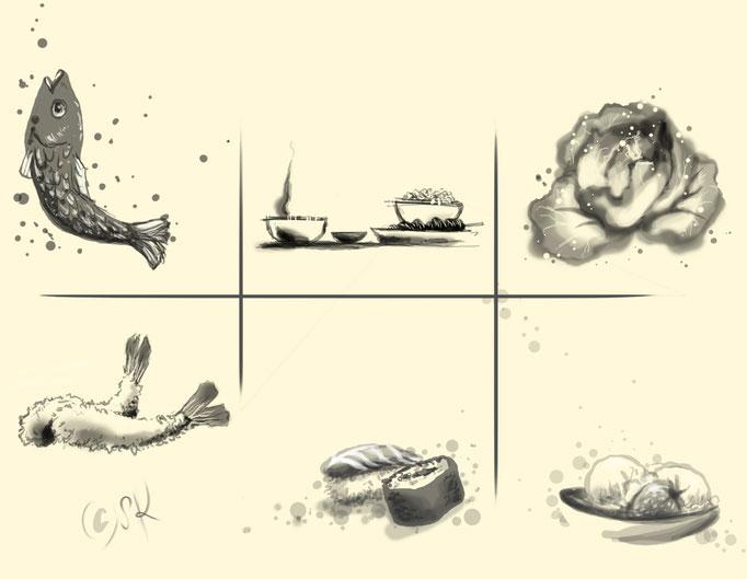 niko niko tei - food illustrations for web and menu