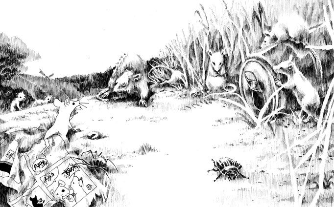 The Comic Mouse - short story illustrations combining two styles   july 2009
