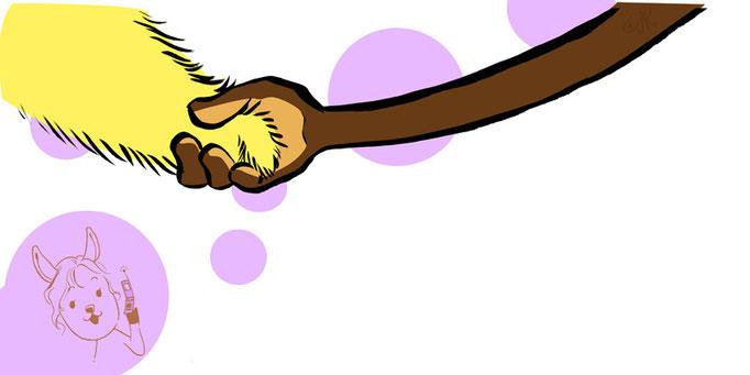 bini-chick and momo-monkey