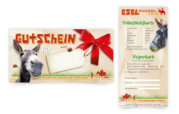 Flyer-Eselwander-eifel-gutschein-fruehstueckskarte-grafik-thielen