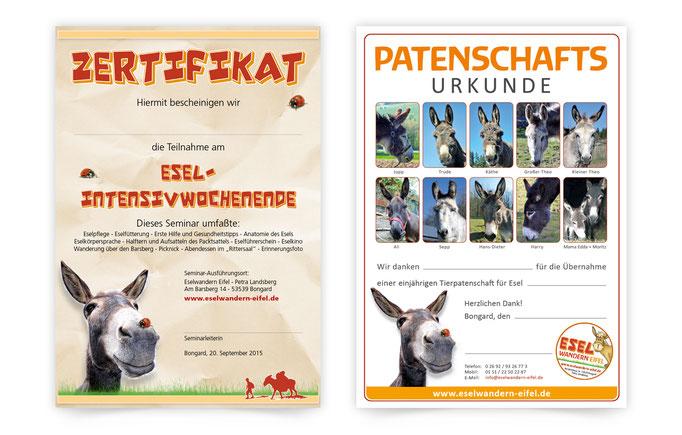 Flyer-gutschein-Eselwander-eifel-zertifikat-patenschaftsurkunde-grafik-thielen