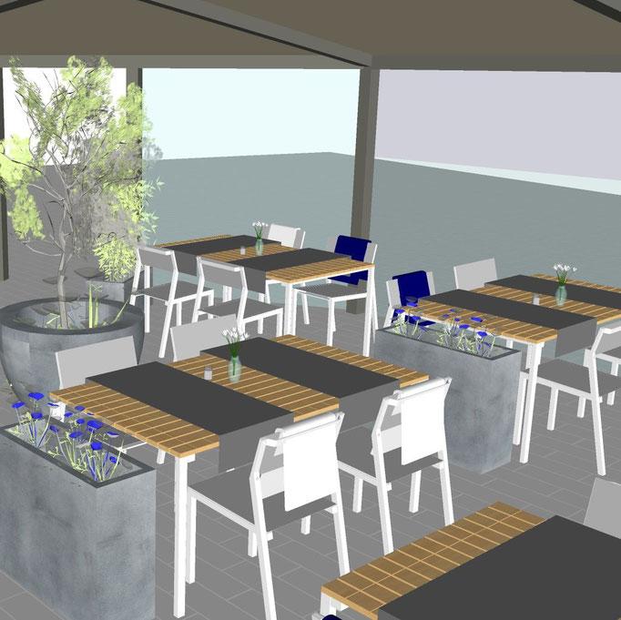 Gestaltung einer Außenterrasse mit Möbeln